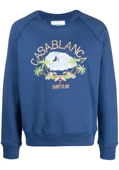 Casablanca felpa con stampa uomo blu CASABLANCA | Felpe | MS21-JTP-011NAVY